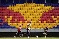 Salou Ibrahim (29) of the New York Red Bulls during practice on Media Day at Red Bull Arena in Harrison, NJ, on March 15, 2011.