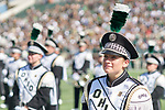 110 senior and Trumpet section leader Kellsie Brown exits the field