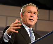 "United States President George W. Bush makes remarks outlining his plans to expand the ""No Child Left Behind"" program to high schools during a visit to J.E.B. Stuart High School in Falls Church, Virginia on January 12, 2004. <br /> Credit: Ron Sachs / Pool via CNP"