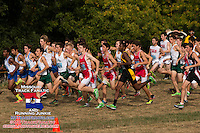Runners in the Varsity Boys race take off after the gun at the Parkway West Cross Country Invitational.