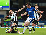 Jonjo Shelvey of Newcastle United blocks a cross by Leighton Baines of Everton during the premier league match at Goodison Park Stadium, Liverpool. Picture date 23rd April 2018. Picture credit should read: Simon Bellis/Sportimage