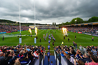 The Bath Rugby team run onto the field. Gallagher Premiership match, between Bath Rugby and Gloucester Rugby on September 8, 2018 at the Recreation Ground in Bath, England. Photo by: Patrick Khachfe / Onside Images