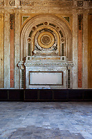 Ornate wall in the abandoned railway station on 16th St. in Oakland, California that was built built in 1912 for the Southern Pacific Railroad and later used by Amtrak.