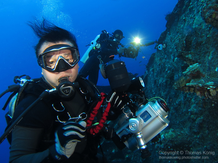 Orchid Island (蘭嶼), Taiwan -- Underwater photographer at Ba Dai Wreck (八代沉船)