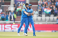 KL Rahul (India) congratulates Jasprit Bumrah (India) on the wicket of Guptill during India vs New Zealand, ICC World Cup Semi-Final Cricket at Old Trafford on 9th July 2019