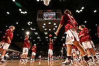 15 November 2007: (L-R) Stanford Cardinal JJ Hones, Kayla Pedersen, Jillian Harmon, Rosalyn Gold-Onwude, Cissy Pierce, Michelle Harrison, Morgan Clyburn, and Jeanette Pohlen during Stanford's 97-62 loss against the USA Women's National Basketball Team at Maples Pavilion in Stanford, CA.