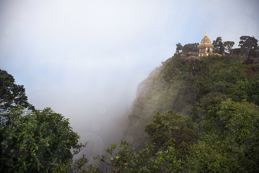 October 10, 2012 - Kampot (Cambodia). A view of the pagoda built on Bokor mountain, a few km outside Kampot. © Thomas Cristofoletti / Ruom