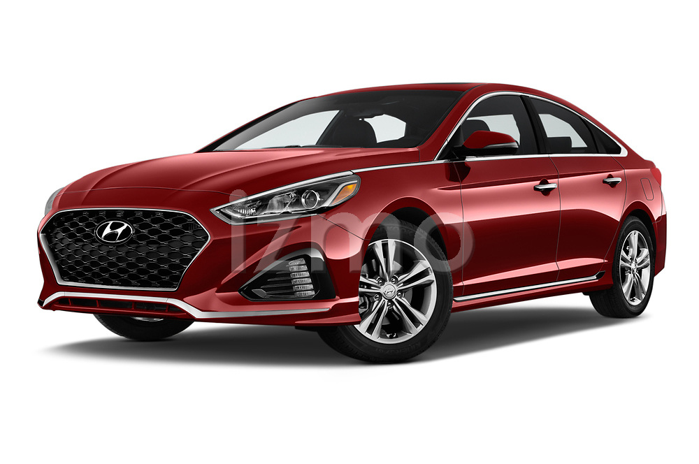 Stock pictures of low aggressive front three quarter view of a 2019 Hyundai Sonata Sport 4 Door Sedan