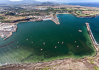 A helicoptor tour provides an aerial view of Nawiliwili Harbor, Lihue, Kaua'i