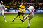 11.05.2019, Signal Iduna Park, Dortmund, GER, 1.FBL, Borussia Dortmund vs Fortuna Düsseldorf, DFL REGULATIONS PROHIBIT ANY USE OF PHOTOGRAPHS AS IMAGE SEQUENCES AND/OR QUASI-VIDEO<br /> <br /> im Bild | picture shows:<br /> Niko Giesselmann (Fortuna #23) klaert vor Jacob Bruun Larsen (Borussia Dortmund #34), <br /> <br /> Foto © nordphoto / Rauch