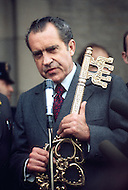 President Richard Nixon while campaigning in New Jersey is given a key to the city - A break in at the Democratic National Committee headquarters at the Watergate complex on June 17, 1972 results in one of the biggest political scandals the US government has ever seen.  Effects of the scandal ultimately led to the resignation of  President Richard Nixon, on August 9, 1974, the first and only resignation of any U.S. President.