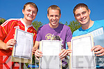 David Enright, Damien O'Leary and Cillian Walsh were delighted after collecting their leaving cert results in St Brendans College, Killarney on Wednesday.
