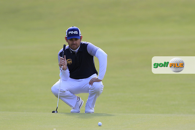 Louis Oosthuizen (RSA) lines up his putt on the 18th green during Sunday's Round 3 of the 144th Open Championship, St Andrews Old Course, St Andrews, Fife, Scotland. 19/07/2015.<br /> Picture Eoin Clarke, www.golffile.ie
