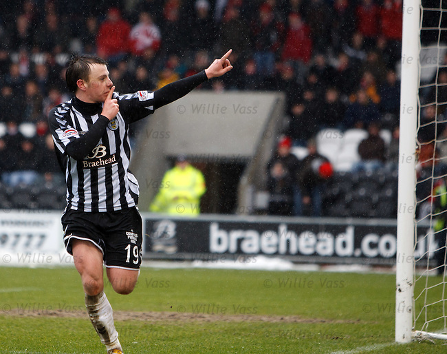 Paul McGowan celebrates his goal for St Mirren as he gestures to the away support