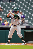 Hawaii Rainbow Warriors designated hitter Jordan Richartz (3) at bat during the NCAA baseball game against the Nebraska Cornhuskers on March 7, 2015 at the Houston College Classic held at Minute Maid Park in Houston, Texas. Nebraska defeated Hawaii 4-3. (Andrew Woolley/Four Seam Images)