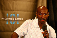 Bernard Lagat answering questions during press conference for the 101st. MILLROSE GAMES to be held at Madison Square Garden on Friday night February 3rd. 2008. Photo by Errol Anderson, The Sporting Image.