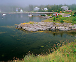 Lunenburg County, Nova Scotia<br /> Blue Rocks village on foggy Lunenburg Bay