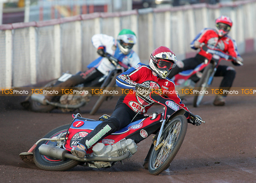 Heat 1 - Shields (red), Hamill (green), Bager - Lakeside Hammers vs Reading Bulldogs - Elite League Speedway at Arena Essex - 20/06/07 - MANDATORY CREDIT: Gavin Ellis/TGSPHOTO - SELF-BILLING APPLIES WHERE APPROPRIATE. NO UNPAID USE -  Tel: 0845 0946026