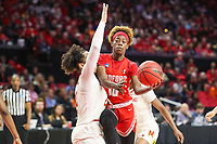 College Park, MD - March 23, 2019: Radford Highlanders guard Destinee Walker (10) gets fouled by a Maryland Terrapins defender during game between Radford and Maryland at  Xfinity Center in College Park, MD.  (Photo by Elliott Brown/Media Images International)
