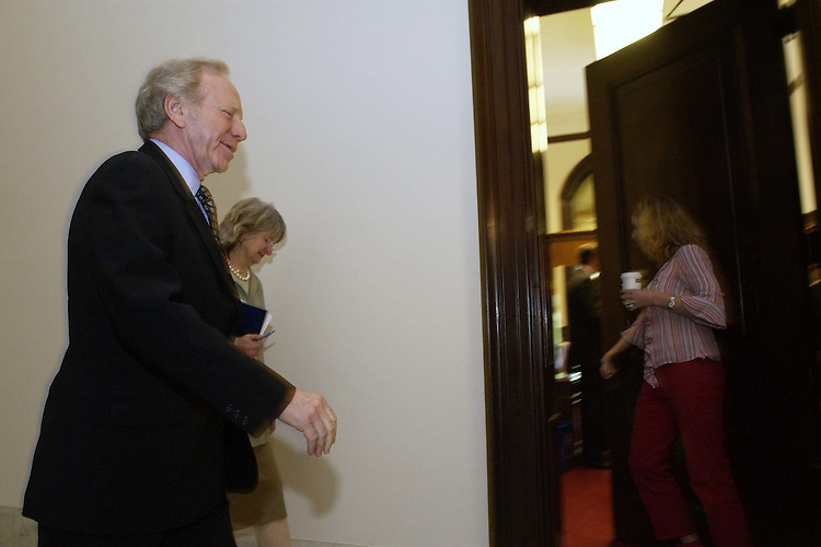 05/19/05.CENTRISTS/JUDICIAL NOMINATIONS--Sen. Joseph I. Lieberman, D-Conn., and an aide arrive for an 11 a.m. meeting in the office of Sen. John McCain, R-Ariz., of a group of Democrat and Republican Senate moderates and mavericks trying to hammer out a deal to avert a parliamentary showdown over President Bush's judicial nominees..CONGRESSIONAL QUARTERLY PHOTO BY SCOTT J. FERRELL