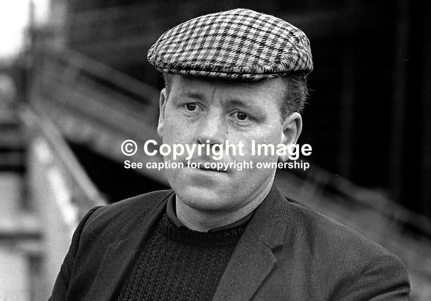 Sandy Scott, aka Alexander Scott, shop steward, trade union official, Harland &amp; Wolff Ltd, shipbuilders, Belfast, N Ireland, UK, 197001010024d<br /> <br /> Copyright Image from Victor Patterson, 54 Dorchester Park, <br /> Belfast, UK, BT9 6RJ<br /> <br /> t1: +44 28 9066 1296 (from Rep of Ireland 048 9066 1296)<br /> t2: +44 28 9002 2446 (from Rep of Ireland 048 9002 2446)<br /> m: +44 7802 353836<br /> <br /> e1: victorpatterson@me.com<br /> e2: victorpatterson@gmail.com<br /> <br /> www.victorpatterson.com<br /> <br /> Please see my Terms and Conditions of Use at www.victorpatterson.com. It is IMPORTANT that you familiarise yourself with them.<br /> <br /> Images used on the Internet must be visibly watermarked i.e. &copy; Victor Patterson within the body of the image and copyright metadata must not be deleted. Images used on the Internet have a size restriction of 4kbs and will be chargeable at current NUJ rates unless advised otherwise.<br /> <br /> This image is only available for the use of the download recipient i.e. television station, newspaper, magazine, book publisher, etc, and must not be passed on to any third party. It is also downloaded on condition that each and every usage is notified within 7 days to victorpatterson@me.com<br /> <br /> The right of Victor Patterson to be identified as the author is asserted in accordance with The Copyright Designs And Patents Act (1988).