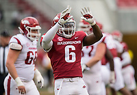 Hawgs Illustrated/BEN GOFF <br /> Gabe Richardson, Arkansas defensive lineman, reacts after a stop in the second quarter Saturday, April 6, 2019, during the Arkansas Red-White game at Reynolds Razorback Stadium.
