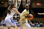 DURHAM, NC - FEBRUARY 01: Georgia Tech's Elo Edeferioka (NGA) (right) and Duke's Bego Faz Davalos (MEX) (left). The Duke University Blue Devils hosted the Georgia Tech University Yellow Jackets on February 1, 2018 at Cameron Indoor Stadium in Durham, NC in a Division I women's college basketball game. Duke won the game 77-59.