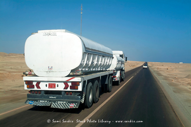 Truck driving on a highway between Marsa Alam and Quoseir, Red Sea, Egypt.