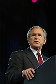Washington, DC- July 20, 2006 -- United States President George W. Bush speaks during the National Association for the Advancement of Colored People's (NAACP) 97th Annual Convention. President Bush spoke about the Voting Rights Act, Social Security, and Medicare.   It was the first time he addressed the group as President.<br /> Credit: Evan F. Sisley / CNP