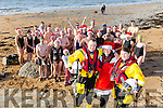 Getting ready for the annual Christmas Day swim, Kieran Bolt , Mrs Clause, Denise Lynch and  members of Tralee Bay Swimming club Launch the Swim in aid of Fenit RNLI on Sunday