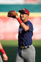 Lehigh Valley IronPigs shortstop J.P. Crawford (3) warms up before a game against the Buffalo Bisons on July 9, 2016 at Coca-Cola Field in Buffalo, New York.  Lehigh Valley defeated Buffalo 9-1 in a rain shortened game.  (Mike Janes/Four Seam Images)