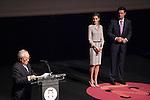"Princess Letizia of Spain and Industry and Energy Minister Jose Manuel Soria attend ""PREMIOS NACIONALES DE LA MODA"" fashion awards ceremony at Reina Sofia museum in Madrid, Spain. June 06, 2013. (ALTERPHOTOS/Victor Blanco)"