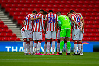 4th July 2020; Bet365 Stadium, Stoke, Staffordshire, England; English Championship Football, Stoke City versus Barnsley; A last minute team huddle for Stoke