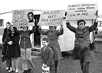 Marie Drumm, president, Provisional Sinn Fein, right, leads the protest at Long Kesh against the internment of the first woman detainee, Liz McKee. 197301260035a.<br />