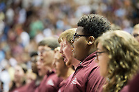 2016 Fall Convocation in Humphrey Coliseum: National Anthem, sung by the Mississippi State University singers.<br />  (photo by Megan Bean / &copy; Mississippi State University)