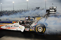 Sept. 16, 2011; Concord, NC, USA: NHRA top fuel dragster driver Clay Millican during qualifying for the O'Reilly Auto Parts Nationals at zMax Dragway. Mandatory Credit: Mark J. Rebilas-US PRESSWIRE