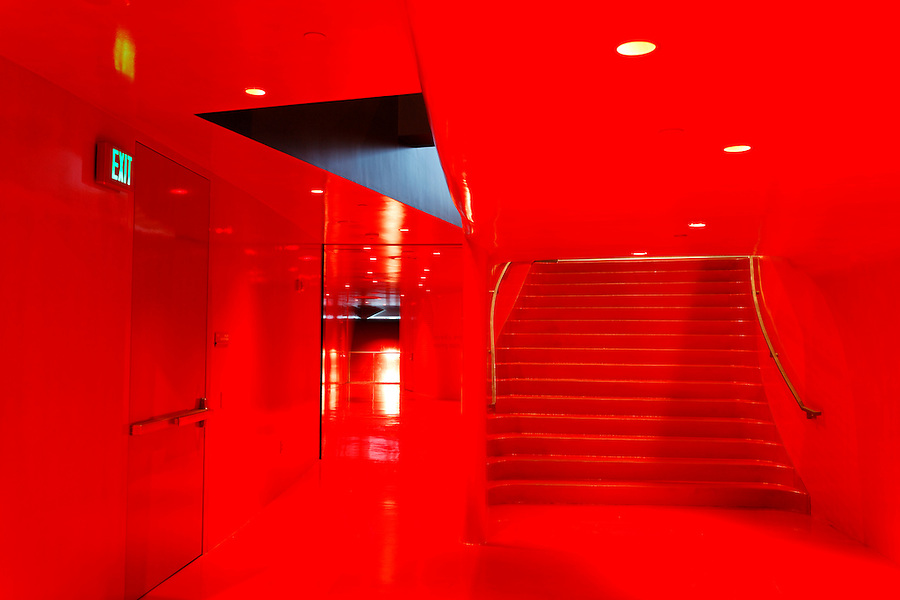 Bright red interior archtiecture on the Meeting Floor of The Seattle Public Library's Central Library, Seattle, Washington, USA