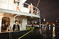 NEW YORK - SEP 3: The cast and crew of The Confidence Man perform a dress rehearsal aboard The Lilac, an old Coast Guard Steamship, docked at Pier 40 on the Hudson River in Lower Manhattan on Thursday, September 3, 2009. (Photo by Landon Nordeman)