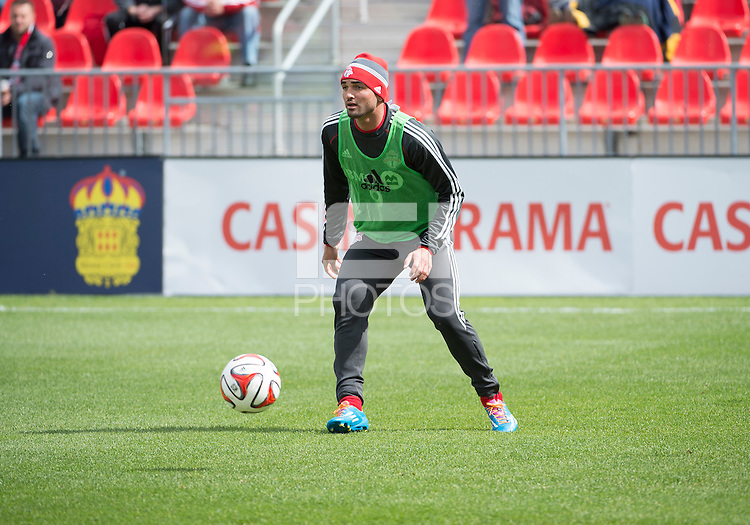 Toronto, Ontario - May 17, 2014: Toronto FC forward Gilberto #9 warms-up before a game between the New York Red Bulls and Toronto FC at BMO Field. Toronto FC won 2-0.