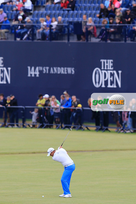 Richie RAMSAY (SCO) plays his 2nd shot on the 18th hole during Monday's Final Round of the 144th Open Championship, St Andrews Old Course, St Andrews, Fife, Scotland. 20/07/2015.<br /> Picture Eoin Clarke, www.golffile.ie