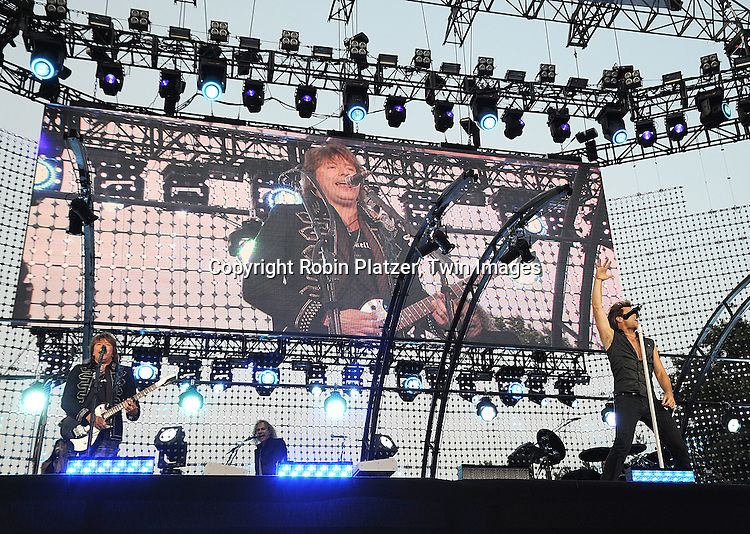 Richie Sambora and Jon Bon Jovi performing in New York's Central Park at a free Bon Jovi Concert on July 12, 2008 in New York City. The concert was presented by Bank of America during MLB All-Star Summer in New York City.....Robin Platzer, Twin Images
