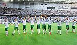 Stockholm 2014-07-20 Fotboll Superettan Hammarby IF - &Ouml;sters IF :  <br /> Hammarbys spelare jublar med Hammarbys supportrar efter matchen<br /> (Foto: Kenta J&ouml;nsson) Nyckelord:  Superettan Tele2 Arena Hammarby HIF Bajen &Ouml;ster &Ouml;IF jubel gl&auml;dje lycka glad happy supporter fans publik supporters