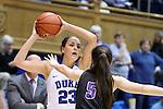 17 November 2016: Duke's Rebecca Greenwell (23) and Grand Canyon's Jessica Gajewski (AUS) (5). The Duke University Blue Devils hosted the Grand Canyon University Antelopes at Cameron Indoor Stadium in Durham, North Carolina in a 2016-17 NCAA Division I Women's Basketball game. Duke won the game 90-47.