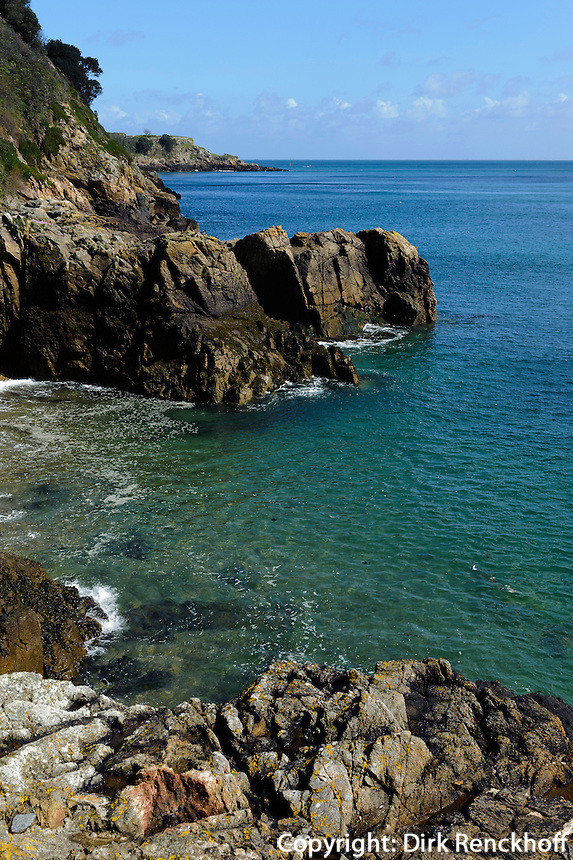 Blick vom Klippenpfad nördlich von Fermain Point, Insel Guernsey, Kanalinseln