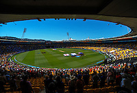 A general view of the stadium as the national anthems are sung during the ICC Cricket World Cup one day pool match between the New Zealand Black Caps and England at Wellington Regional Stadium, Wellington, New Zealand on Friday, 20 February 2015. Photo: Dave Lintott / lintottphoto.co.nz