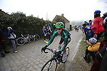 Vincent Jerome (Team Europcar) at the top of the cobbled climb of Paterberg during the 56th edition of the E3 Harelbeke, Belgium, 22nd  March 2013 (Photo by Eoin Clarke 2013)