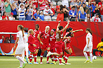 Canada team group line-up (CAN), JUNE 21, 2015 - Football / Soccer : Canada team member <br /> celebrates after a game during the FIFA Women's World Cup Canada 2015 Round of 16 match between Canada 1-0 Switzerland at BC Place Stadium, <br /> Vancouver, Canada. (Photo by Yusuke Nakansihi/AFLO SPORT)
