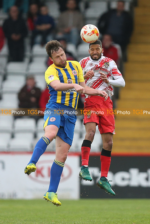 Mark Hughes of Accrington Stanley and Dale Gorman of Stevenage during Stevenage vs Accrington Stanley, Sky Bet EFL League 2 Football at the Lamex Stadium on 6th May 2017