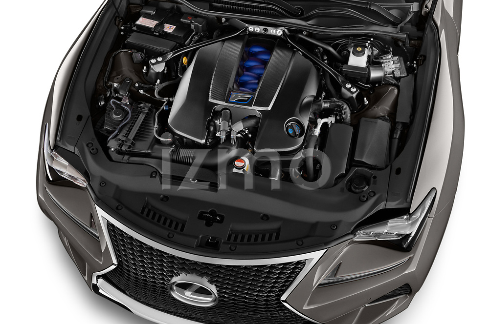 Car stock 2018 Lexus RC F 3 Door Coupe engine high angle detail view
