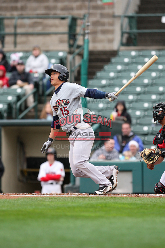 Scranton Wilkes-Barre Railriders third baseman Rob Refsnyder (15) bats against the Rochester Red Wings on May 1, 2016 at Frontier Field in Rochester, New York. Red Wings won 1-0.  (Christopher Cecere/Four Seam Images)